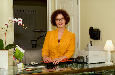 Cynthia Stang in her studio and salon.